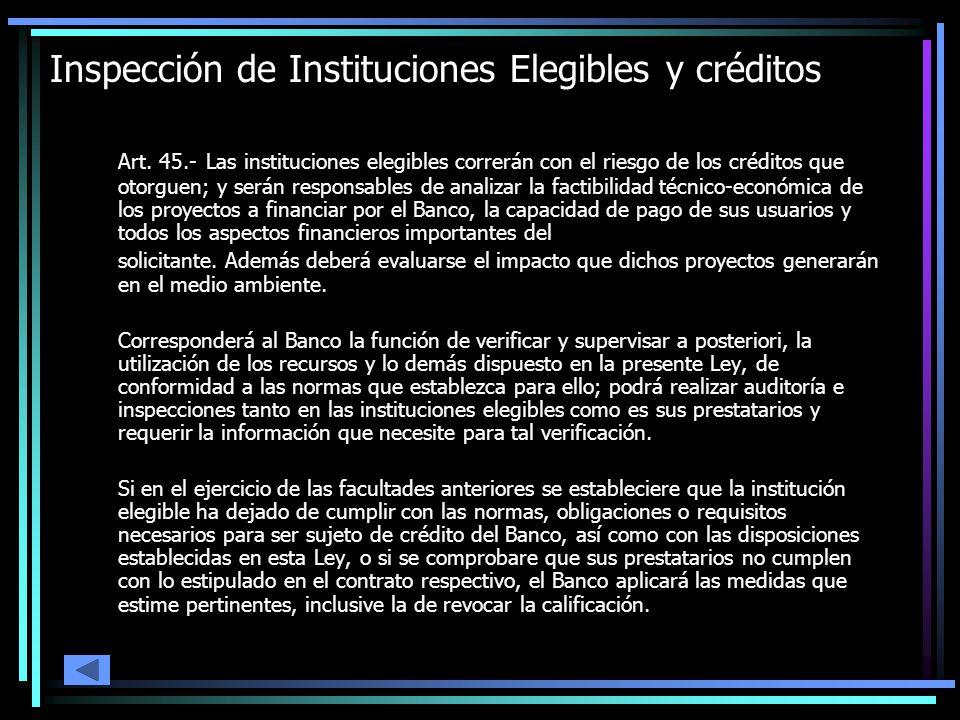 Inspección de Instituciones Elegibles y créditos Art. 45.- Las instituciones elegibles correrán con el riesgo de los créditos que otorguen; y serán re