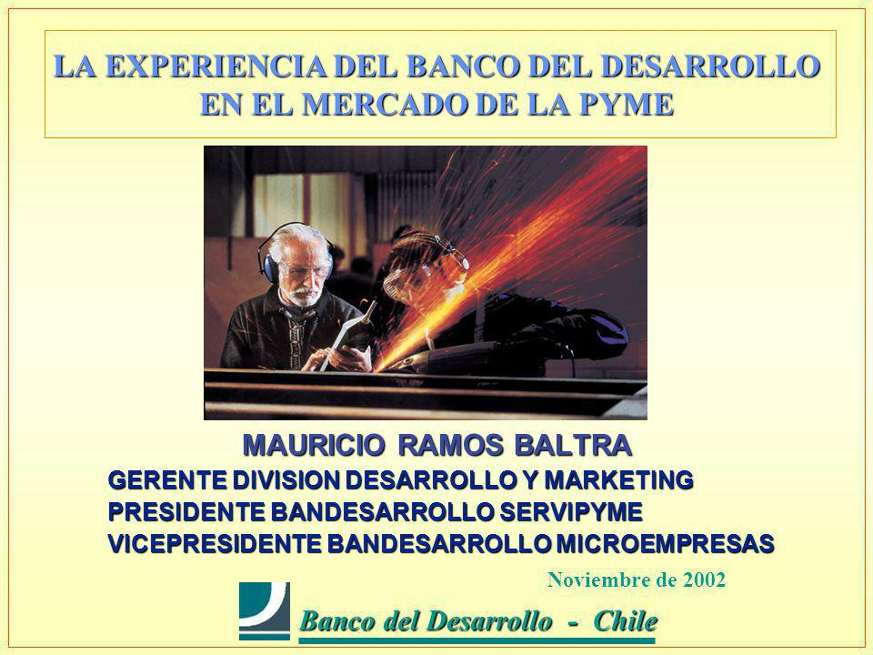 Banco del Desarrollo - Chile Banco del Desarrollo - Chile LA EXPERIENCIA DEL BANCO DEL DESARROLLO EN EL MERCADO DE LA PYME MAURICIO RAMOS BALTRA GERENTE DIVISION DESARROLLO Y MARKETING PRESIDENTE BANDESARROLLO SERVIPYME VICEPRESIDENTE BANDESARROLLO MICROEMPRESAS Noviembre de 2002