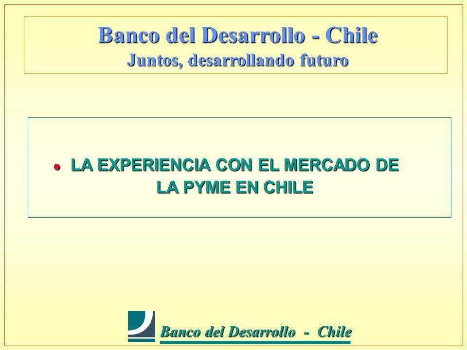 Banco del Desarrollo - Chile Banco del Desarrollo - Chile Banco del Desarrollo - Chile Juntos, desarrollando futuro l LA EXPERIENCIA CON EL MERCADO DE LA PYME EN CHILE