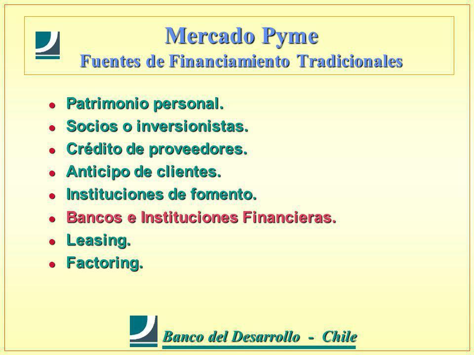 Banco del Desarrollo - Chile Banco del Desarrollo - Chile Mercado Pyme Fuentes de Financiamiento Tradicionales l Patrimonio personal.