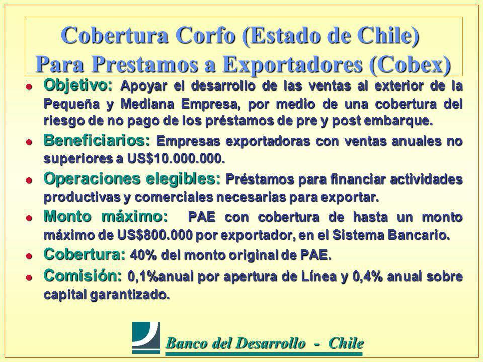 Banco del Desarrollo - Chile Banco del Desarrollo - Chile Cobertura Corfo (Estado de Chile) Para Prestamos a Exportadores (Cobex) l Objetivo: Apoyar el desarrollo de las ventas al exterior de la Pequeña y Mediana Empresa, por medio de una cobertura del riesgo de no pago de los préstamos de pre y post embarque.