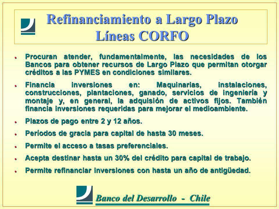 Banco del Desarrollo - Chile Banco del Desarrollo - Chile Refinanciamiento a Largo Plazo Líneas CORFO Procuran atender, fundamentalmente, las necesidades de los Bancos para obtener recursos de Largo Plazo que permitan otorgar créditos a las PYMES en condiciones similares.