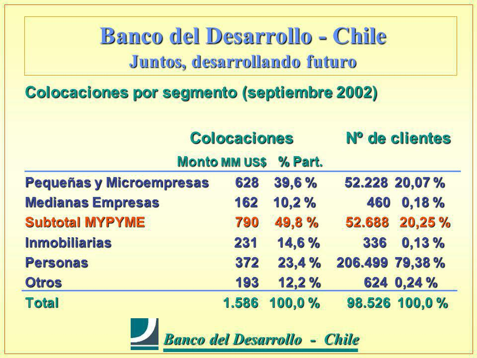 Banco del Desarrollo - Chile Banco del Desarrollo - Chile Banco del Desarrollo - Chile Juntos, desarrollando futuro Colocaciones por segmento (septiembre 2002) Colocaciones Nº de clientes Colocaciones Nº de clientes Monto MM US$ % Part.