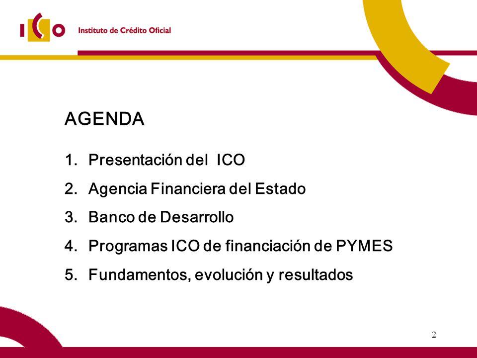 2 1.Presentación del ICO 2.Agencia Financiera del Estado 3.Banco de Desarrollo 4.Programas ICO de financiación de PYMES 5.Fundamentos, evolución y resultados AGENDA