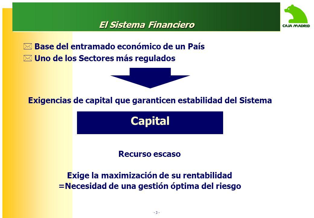 - 3 - El Sistema Financiero Base del entramado económico de un País Uno de los Sectores más regulados Recurso escaso Exige la maximización de su rentabilidad =Necesidad de una gestión óptima del riesgo Exigencias de capital que garanticen estabilidad del Sistema Capital