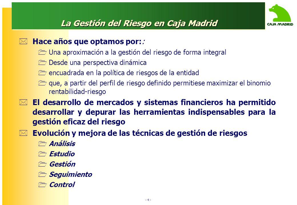 - 4 - La Gestión del Riesgo en Caja Madrid Hace años que optamos por:: Una aproximación a la gestión del riesgo de forma integral Desde una perspectiv