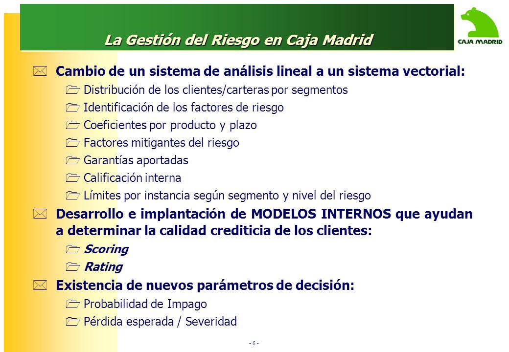 - 6 - La Gestión del Riesgo en Caja Madrid Cambio de un sistema de análisis lineal a un sistema vectorial: Distribución de los clientes/carteras por segmentos Identificación de los factores de riesgo Coeficientes por producto y plazo Factores mitigantes del riesgo Garantías aportadas Calificación interna Límites por instancia según segmento y nivel del riesgo Desarrollo e implantación de MODELOS INTERNOS que ayudan a determinar la calidad crediticia de los clientes: Scoring Rating Existencia de nuevos parámetros de decisión: Probabilidad de Impago Pérdida esperada / Severidad