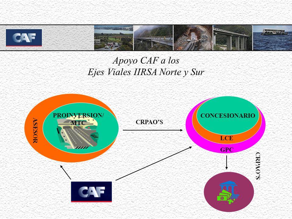 Apoyo CAF a los Ejes Viales IIRSA Norte y Sur ASESOR PROINVERSION/ MTC CONCESIONARIO LCE GPC CRPAOS