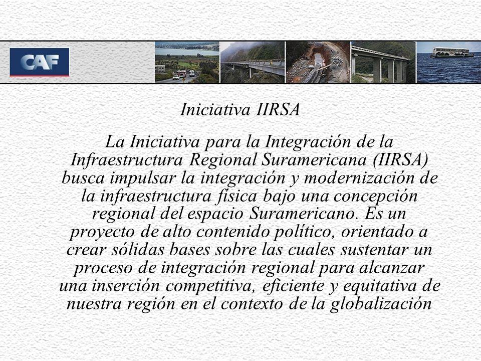 Iniciativa IIRSA La Iniciativa para la Integración de la Infraestructura Regional Suramericana (IIRSA) busca impulsar la integración y modernización de la infraestructura física bajo una concepción regional del espacio Suramericano.
