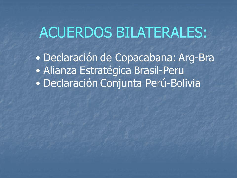 ACUERDOS BILATERALES: Declaración de Copacabana: Arg-Bra Alianza Estratégica Brasil-Peru Declaración Conjunta Perú-Bolivia