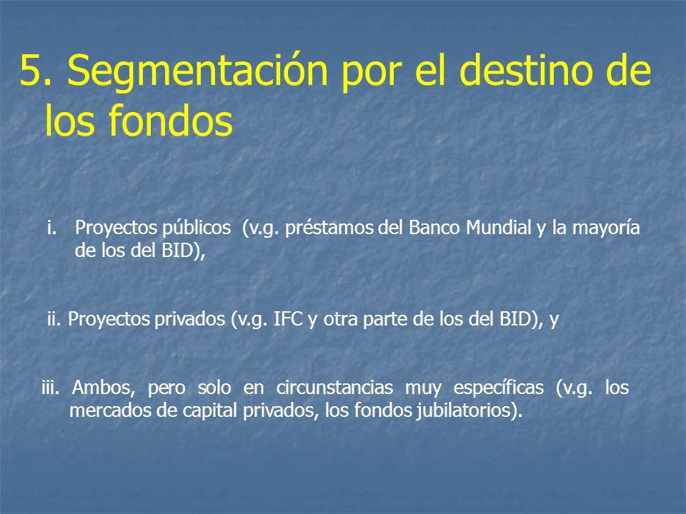 iii. Ambos, pero solo en circunstancias muy específicas (v.g. los mercados de capital privados, los fondos jubilatorios). 5. Segmentación por el desti