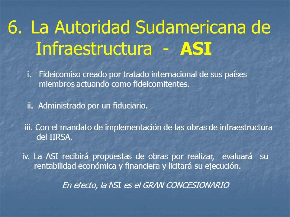 iv. La ASI recibirá propuestas de obras por realizar, evaluará su rentabilidad económica y financiera y licitará su ejecución. En efecto, la ASI es el