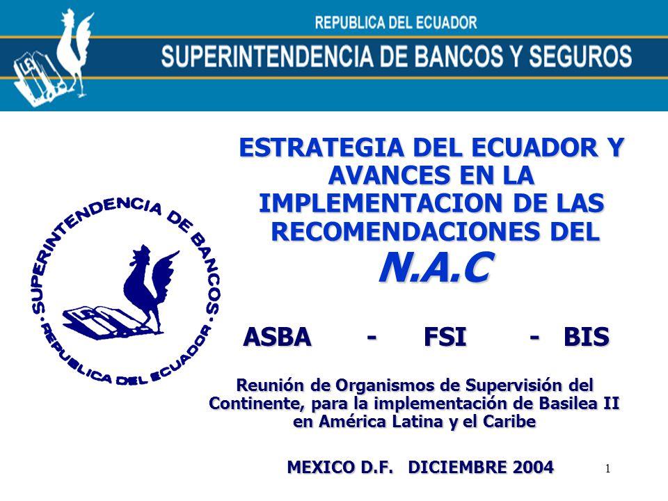 1 ESTRATEGIA DEL ECUADOR Y AVANCES EN LA IMPLEMENTACION DE LAS RECOMENDACIONES DEL RECOMENDACIONES DELN.A.C Reunión de Organismos de Supervisión del C