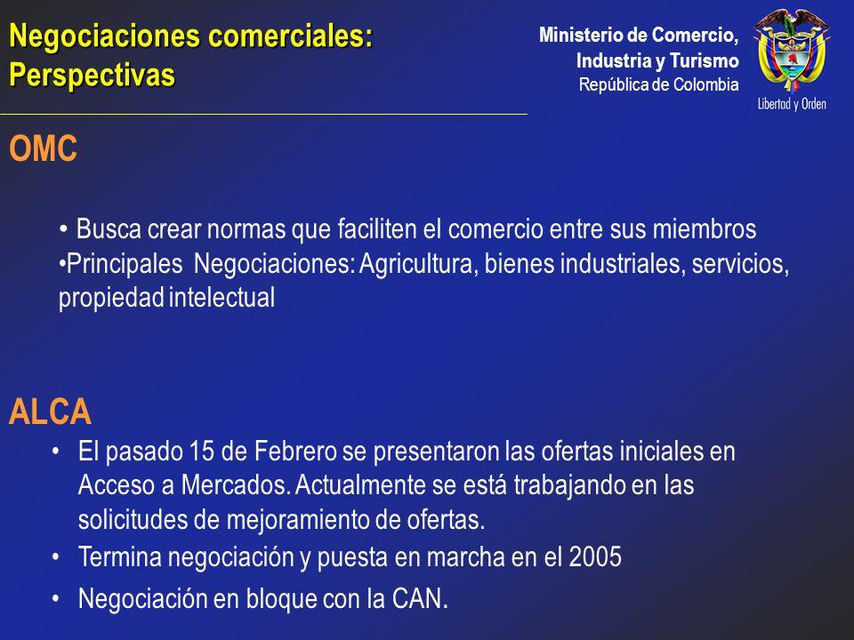 Ministerio de Comercio, Industria y Turismo República de Colombia Negociaciones comerciales: Perspectivas