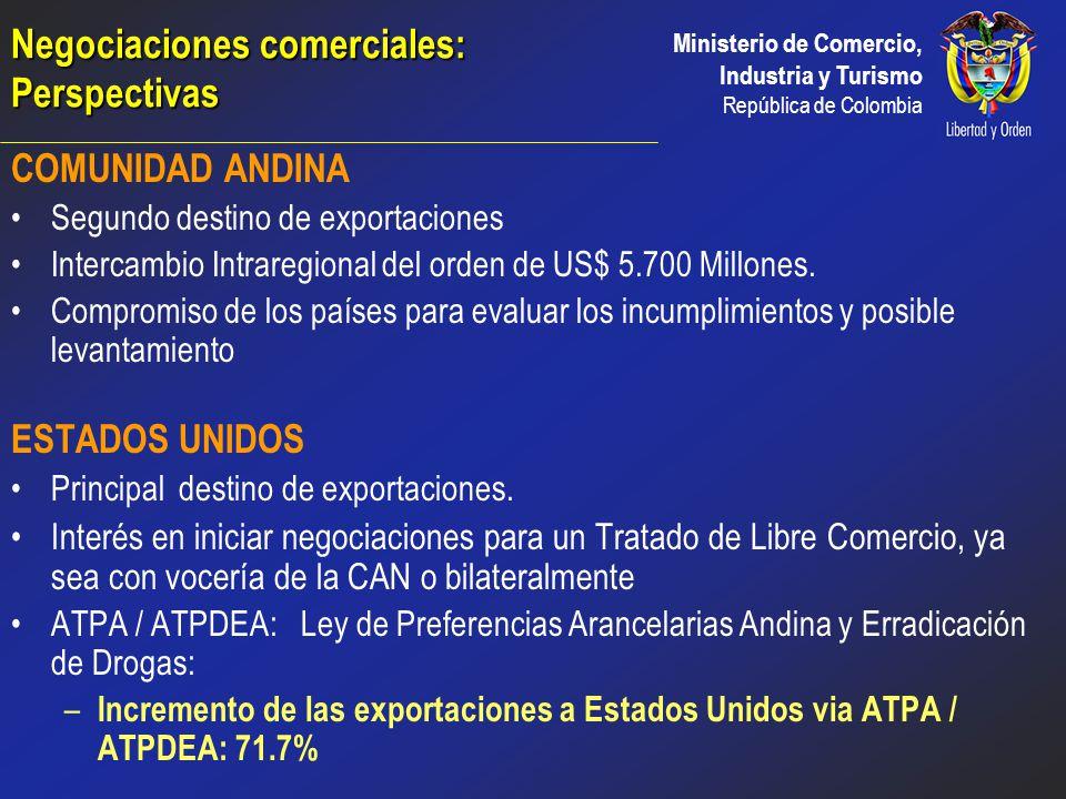 Ministerio de Comercio, Industria y Turismo República de Colombia Busca crear normas que faciliten el comercio entre sus miembros Principales Negociac