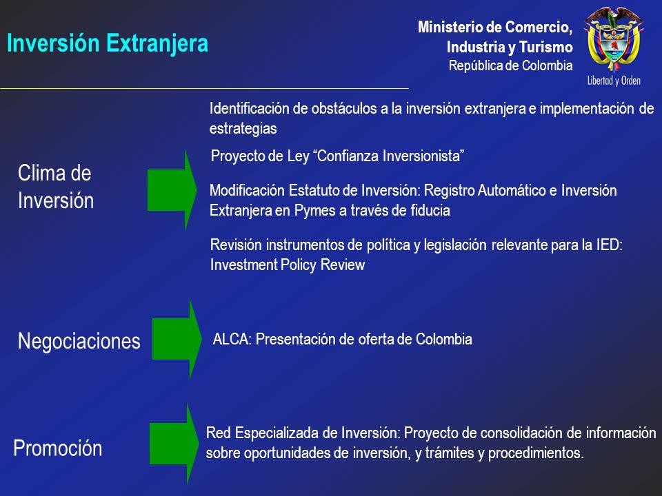 Ministerio de Comercio, Industria y Turismo República de Colombia OBJETIVO 2 Incentivar e incrementar la inversión extranjera para fomentar directa o