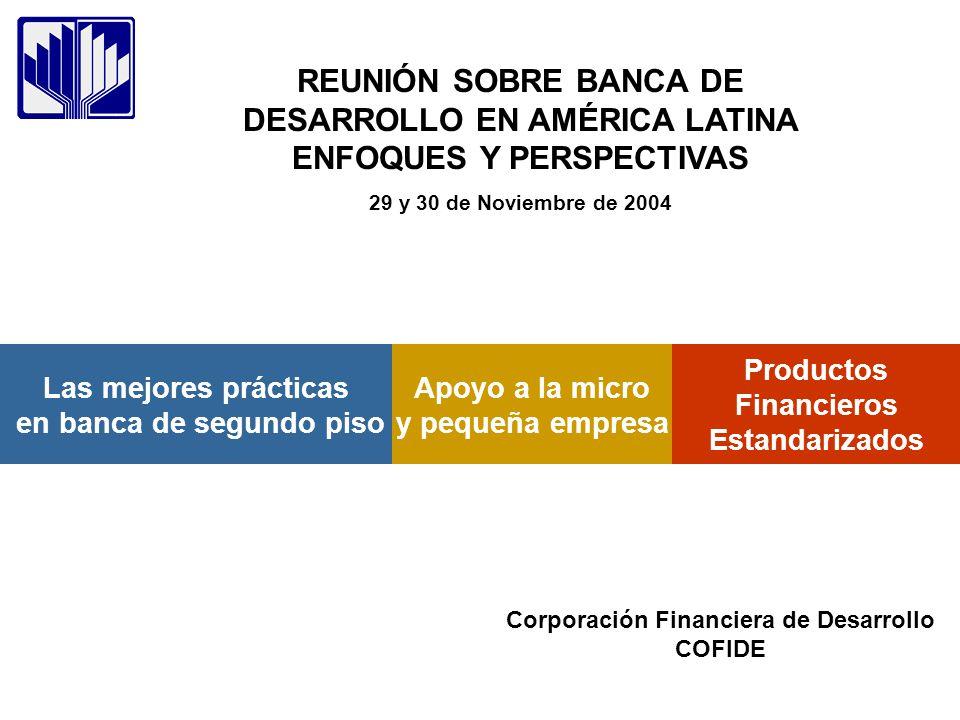 Productos Financieros Estandarizados Las mejores prácticas en banca de segundo piso Apoyo a la micro y pequeña empresa REUNIÓN SOBRE BANCA DE DESARROL