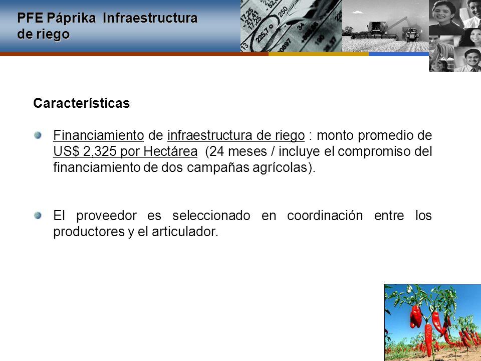 Financiamiento de infraestructura de riego : monto promedio de US$ 2,325 por Hectárea (24 meses / incluye el compromiso del financiamiento de dos camp