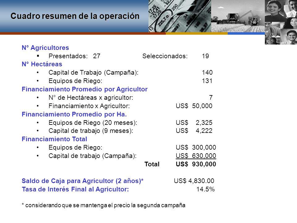 N° Agricultores Presentados: 27 Seleccionados: 19 N° Hectáreas Capital de Trabajo (Campaña): 140 Equipos de Riego: 131 Financiamiento Promedio por Agr