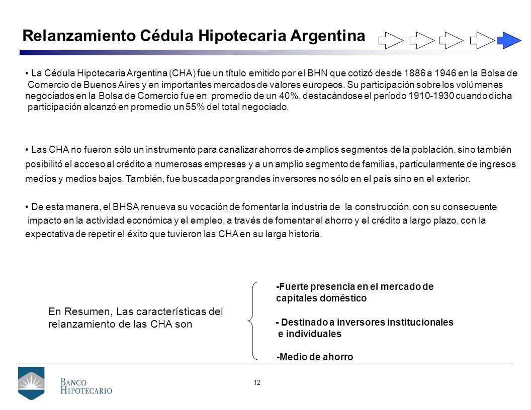 12 Relanzamiento Cédula Hipotecaria Argentina En Resumen, Las características del relanzamiento de las CHA son -Fuerte presencia en el mercado de capitales doméstico -Medio de ahorro - Destinado a inversores institucionales e individuales La Cédula Hipotecaria Argentina (CHA) fue un título emitido por el BHN que cotizó desde 1886 a 1946 en la Bolsa de Comercio de Buenos Aires y en importantes mercados de valores europeos.