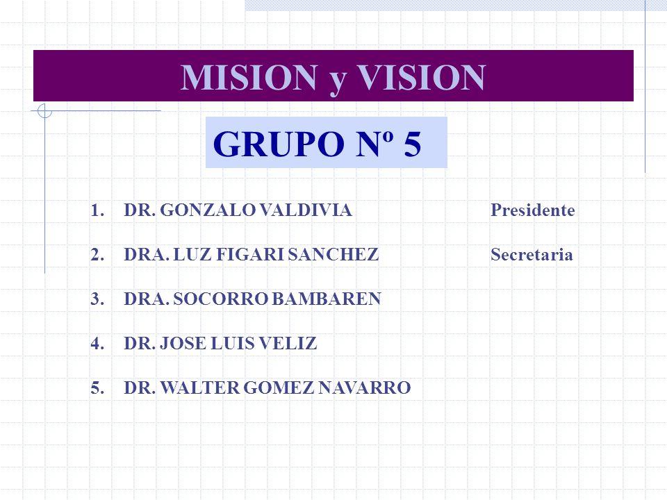 GRUPO Nº 5 1.DR. GONZALO VALDIVIAPresidente 2.DRA. LUZ FIGARI SANCHEZSecretaria 3.DRA. SOCORRO BAMBAREN 4.DR. JOSE LUIS VELIZ 5.DR. WALTER GOMEZ NAVAR