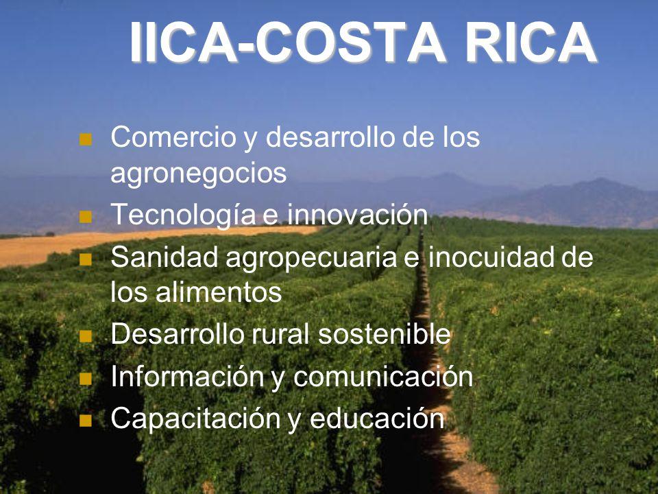 IICA-COSTA RICA Comercio y desarrollo de los agronegocios Tecnología e innovación Sanidad agropecuaria e inocuidad de los alimentos Desarrollo rural sostenible Información y comunicación Capacitación y educación