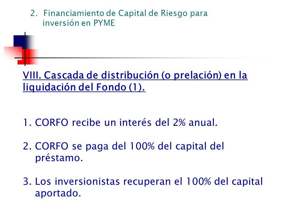 VIII. Cascada de distribución (o prelación) en la liquidación del Fondo (1). 1. CORFO recibe un interés del 2% anual. 2. CORFO se paga del 100% del ca