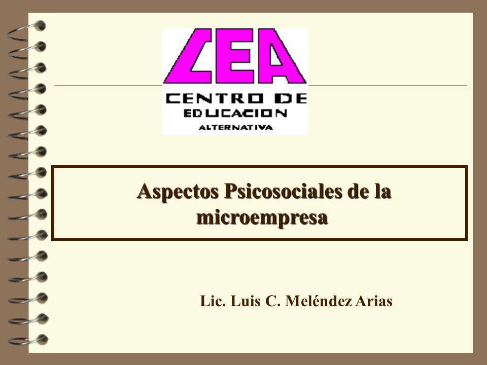 Aspectos Psicosociales de la microempresa Aspectos Psicosociales de la microempresa Lic. Luis C. Meléndez Arias