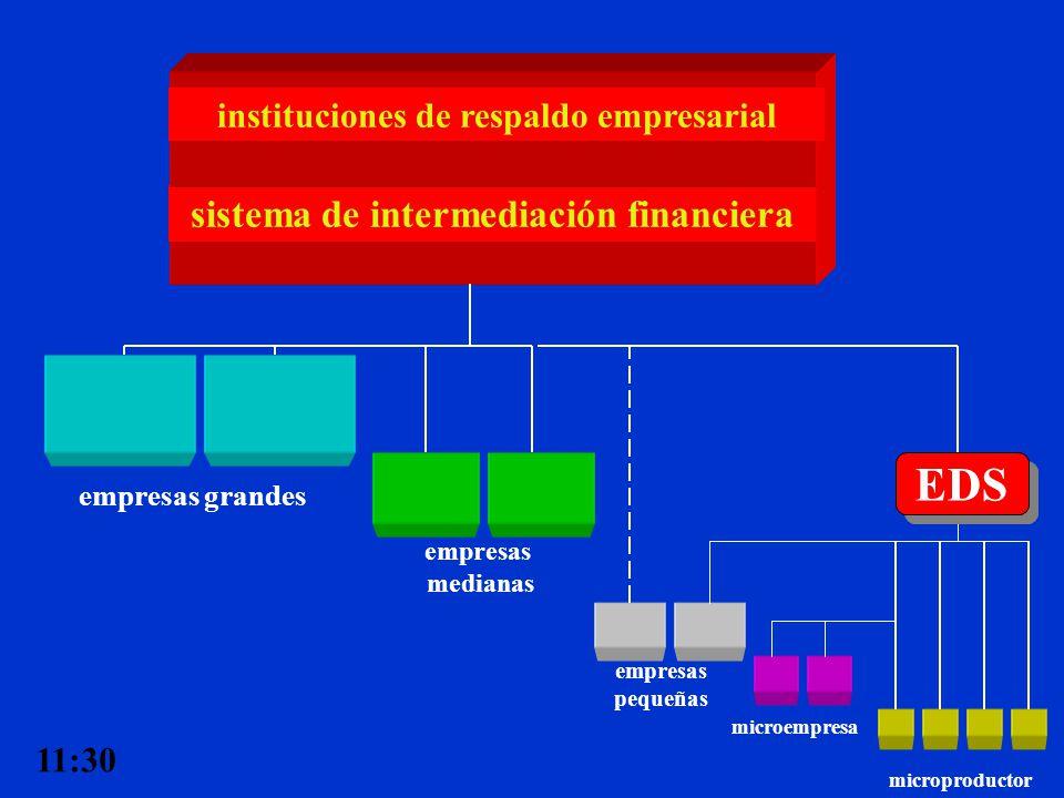 sistema de intermediación financiera empresas grandes empresas medianas empresas pequeñas instituciones de respaldo empresarial microempresa microprod