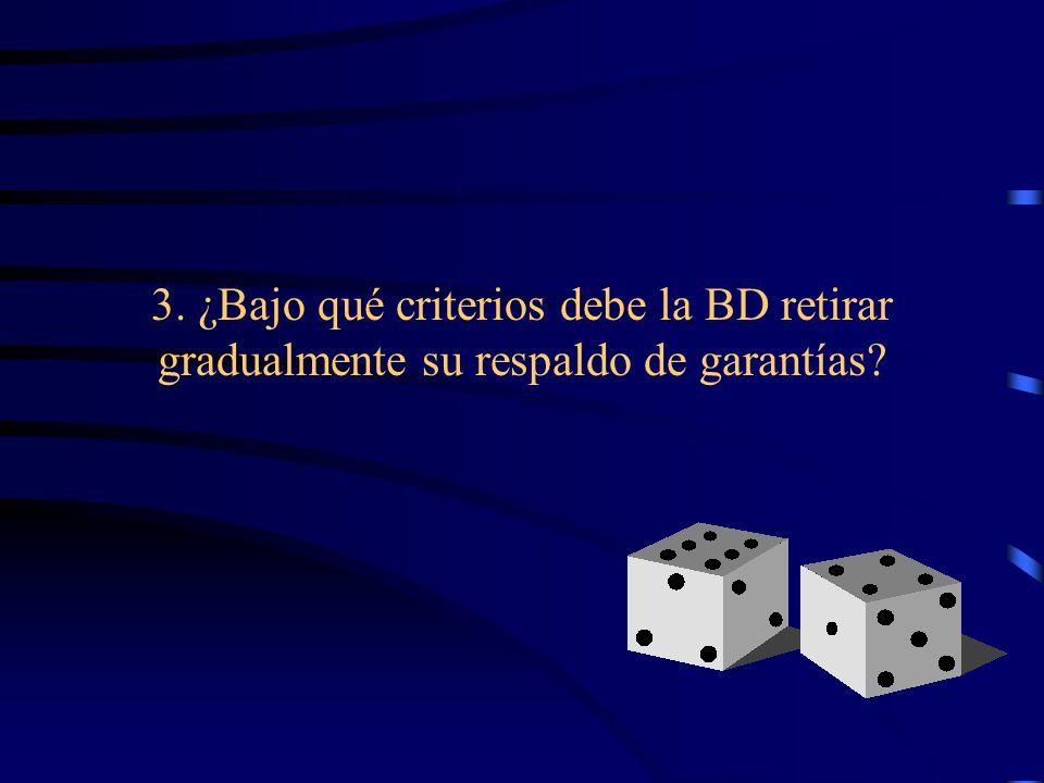 3. ¿Bajo qué criterios debe la BD retirar gradualmente su respaldo de garantías