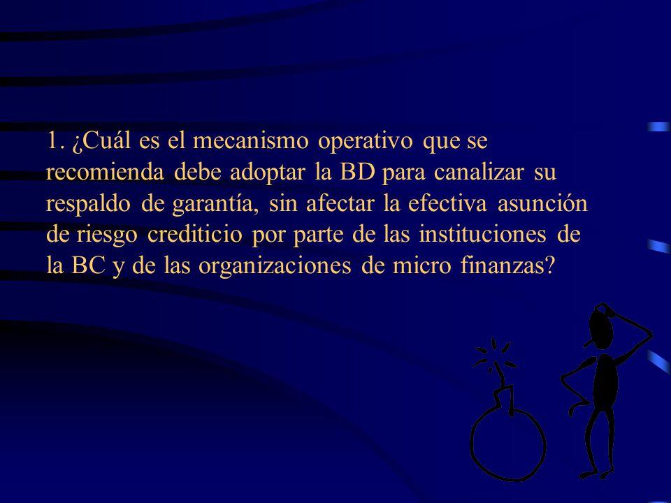 1. ¿Cuál es el mecanismo operativo que se recomienda debe adoptar la BD para canalizar su respaldo de garantía, sin afectar la efectiva asunción de ri