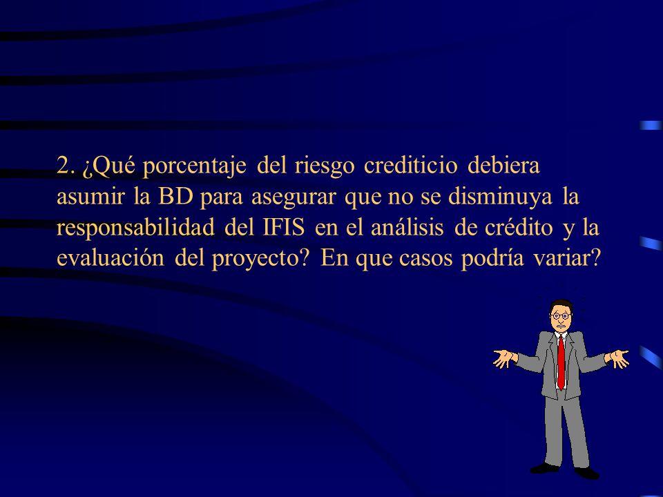 2. ¿Qué porcentaje del riesgo crediticio debiera asumir la BD para asegurar que no se disminuya la responsabilidad del IFIS en el análisis de crédito