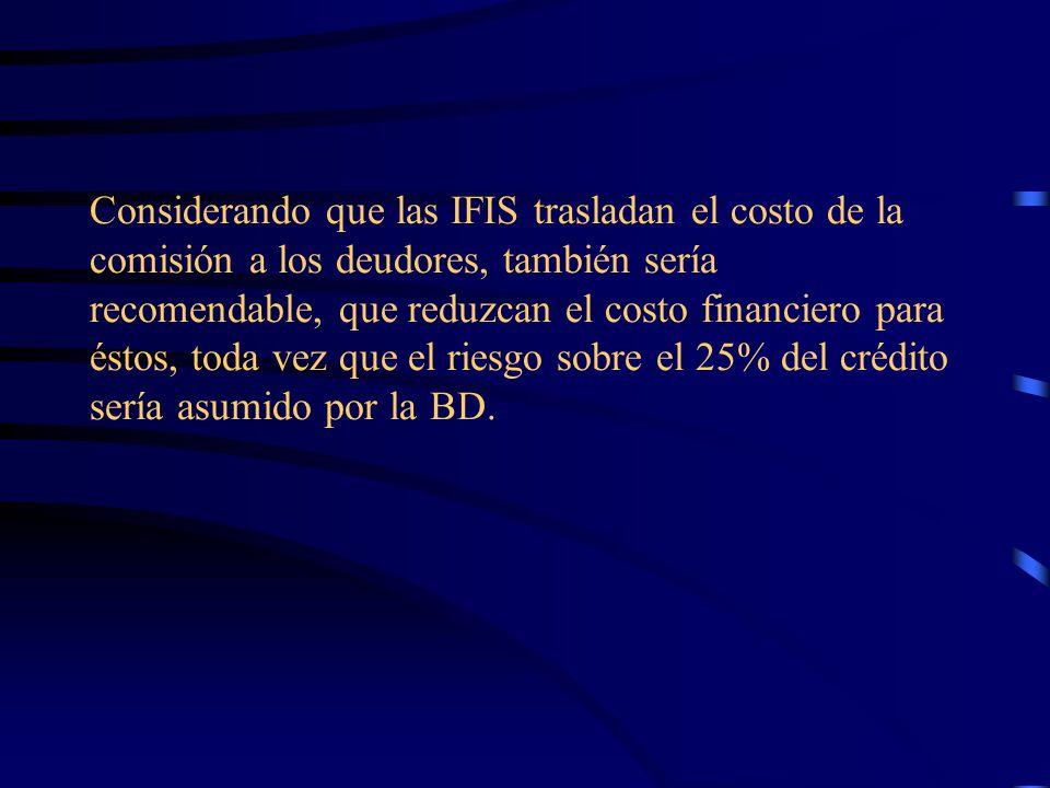 Considerando que las IFIS trasladan el costo de la comisión a los deudores, también sería recomendable, que reduzcan el costo financiero para éstos, toda vez que el riesgo sobre el 25% del crédito sería asumido por la BD.