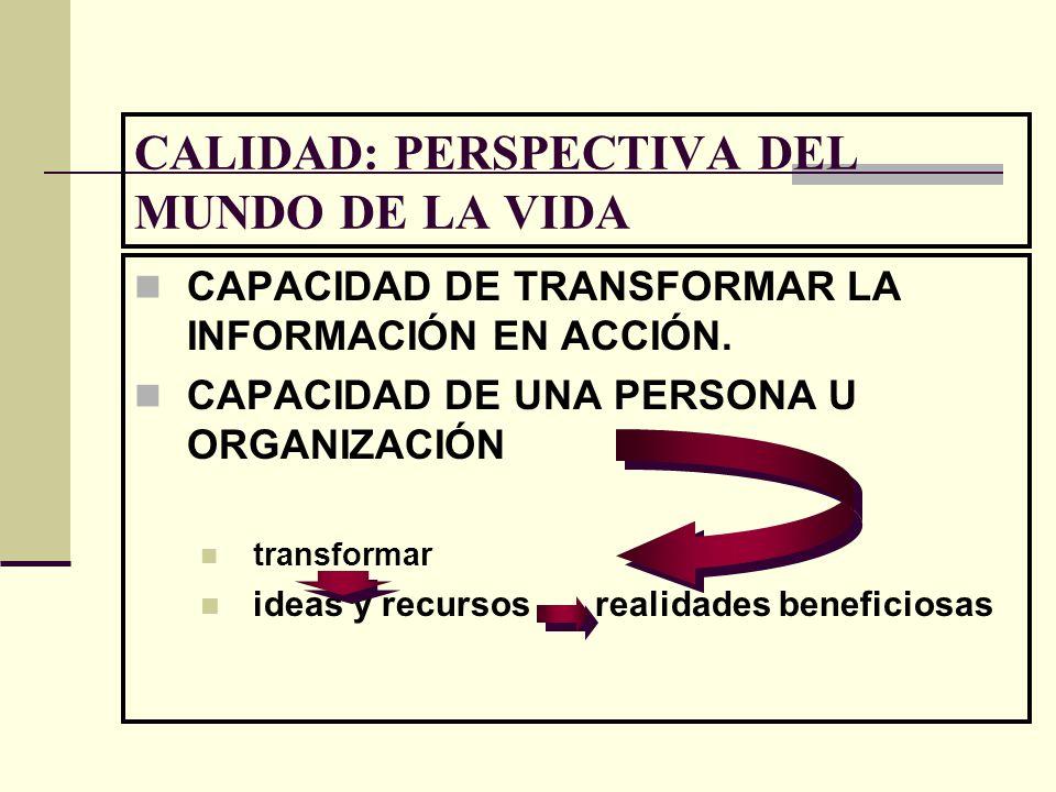 CALIDAD: PERSPECTIVA DEL MUNDO DE LA VIDA CAPACIDAD DE TRANSFORMAR LA INFORMACIÓN EN ACCIÓN. CAPACIDAD DE UNA PERSONA U ORGANIZACIÓN transformar ideas