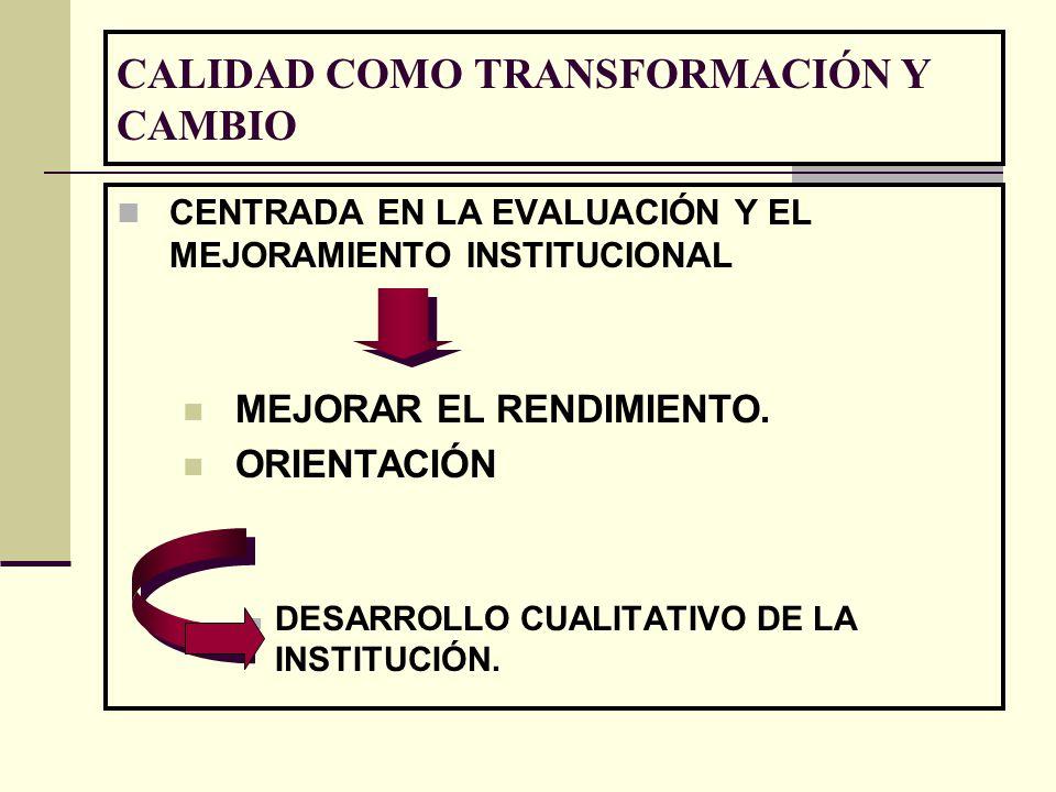CALIDAD COMO TRANSFORMACIÓN Y CAMBIO CENTRADA EN LA EVALUACIÓN Y EL MEJORAMIENTO INSTITUCIONAL MEJORAR EL RENDIMIENTO. ORIENTACIÓN DESARROLLO CUALITAT
