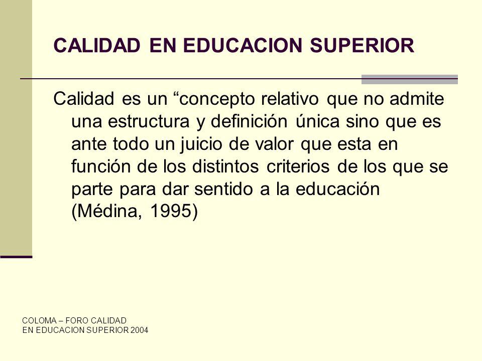 CALIDAD EN EDUCACION SUPERIOR Calidad es un concepto relativo que no admite una estructura y definición única sino que es ante todo un juicio de valor