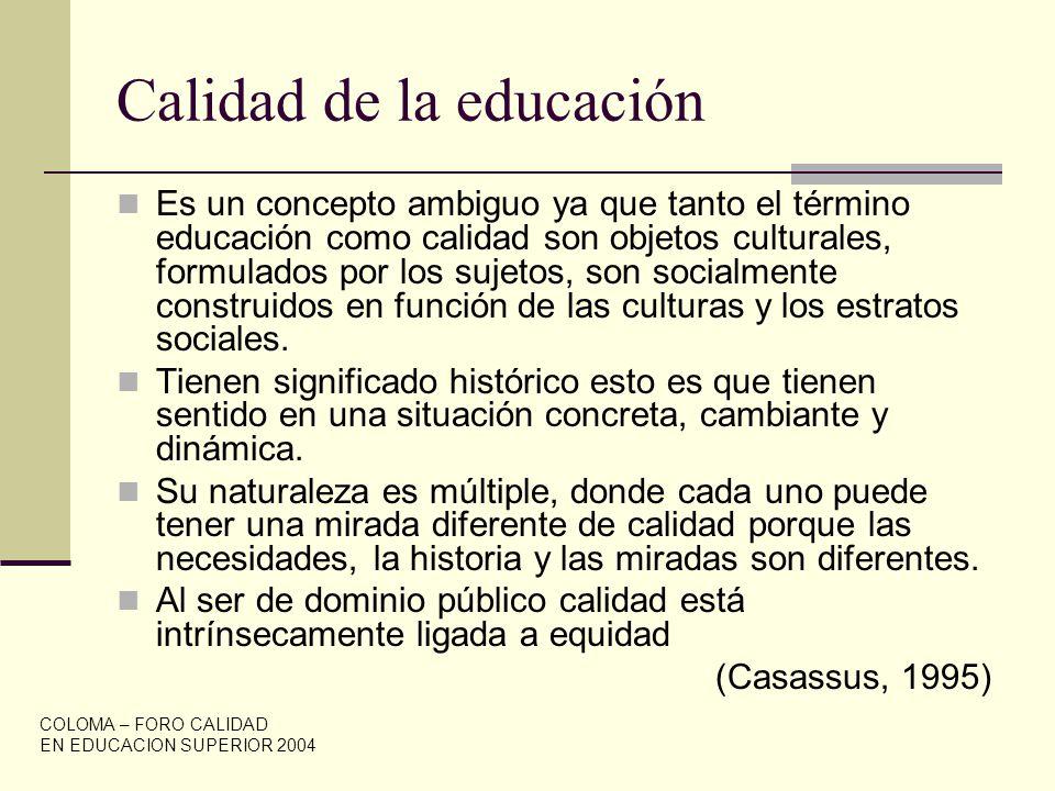 Calidad de la educación Es un concepto ambiguo ya que tanto el término educación como calidad son objetos culturales, formulados por los sujetos, son