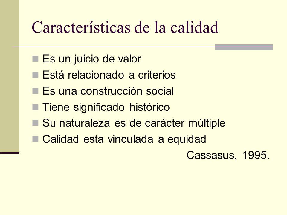 Características de la calidad Es un juicio de valor Está relacionado a criterios Es una construcción social Tiene significado histórico Su naturaleza