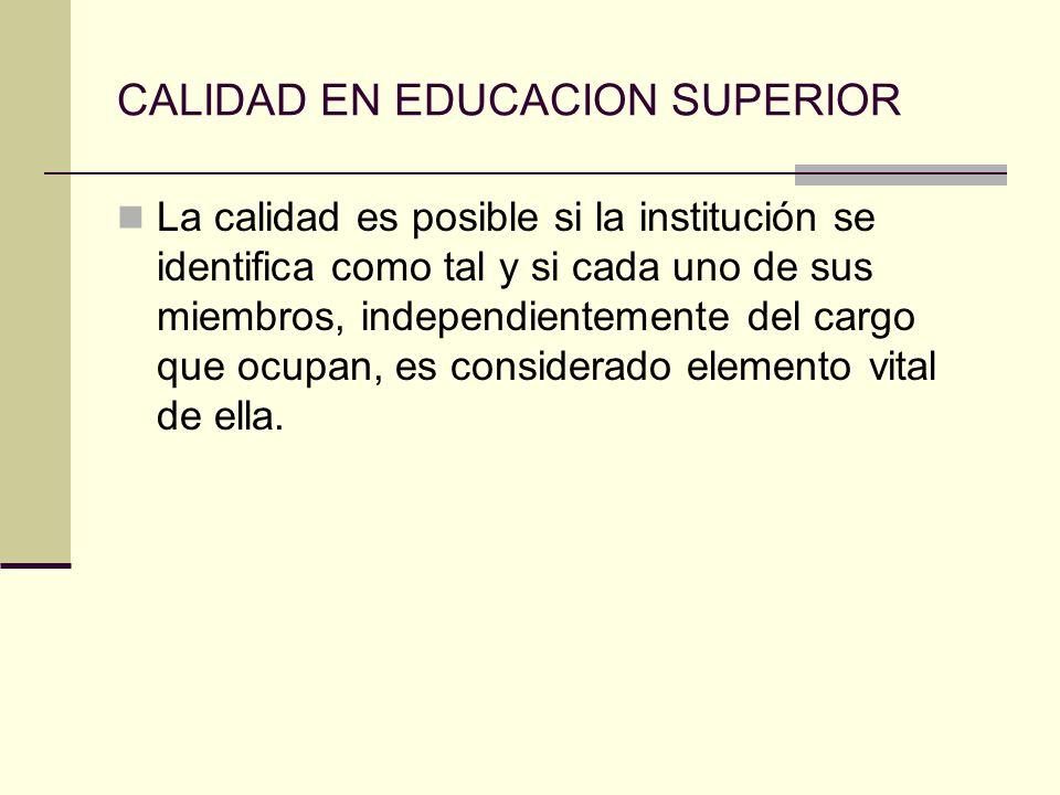 CALIDAD EN EDUCACION SUPERIOR La calidad es posible si la institución se identifica como tal y si cada uno de sus miembros, independientemente del car