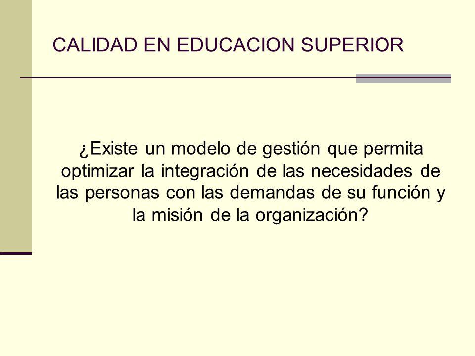 CALIDAD EN EDUCACION SUPERIOR ¿Existe un modelo de gestión que permita optimizar la integración de las necesidades de las personas con las demandas de