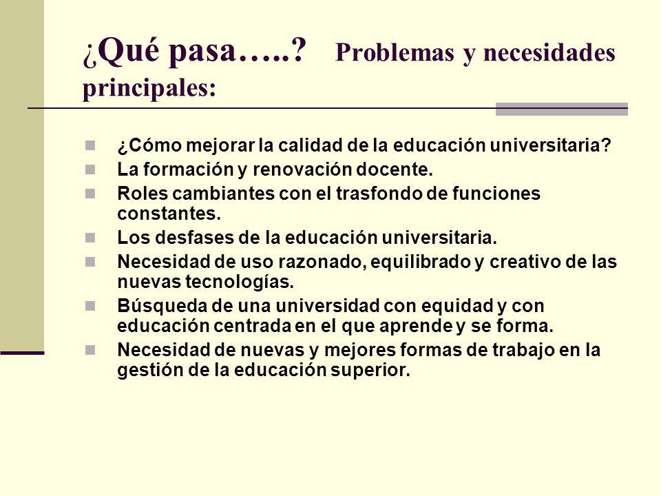 ¿Qué pasa…..? Problemas y necesidades principales: ¿Cómo mejorar la calidad de la educación universitaria? La formación y renovación docente. Roles ca