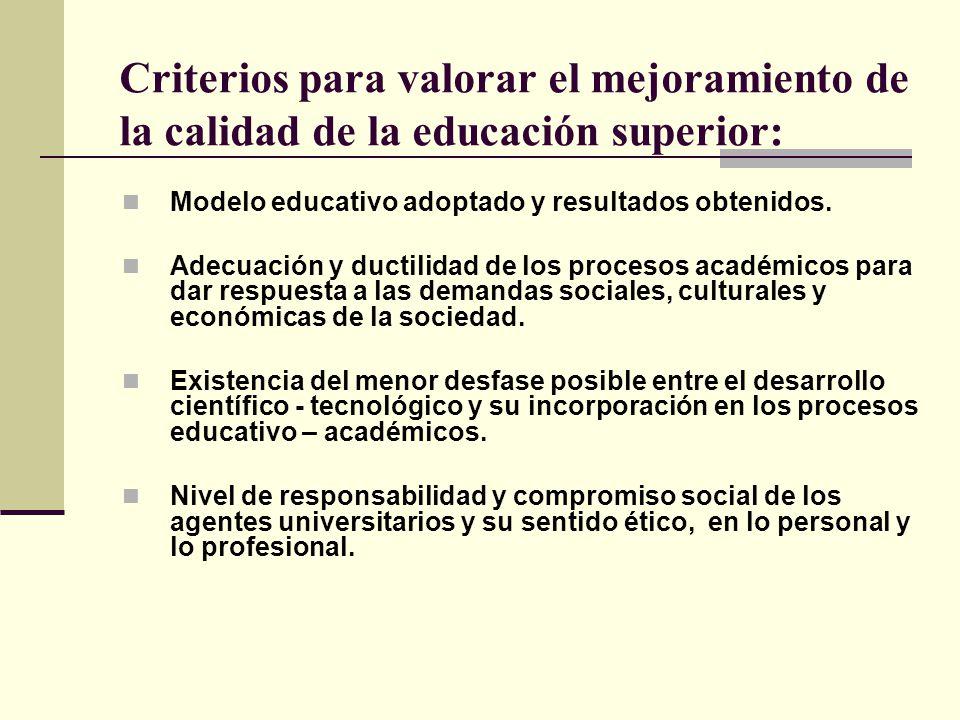 Criterios para valorar el mejoramiento de la calidad de la educación superior: Modelo educativo adoptado y resultados obtenidos. Adecuación y ductilid