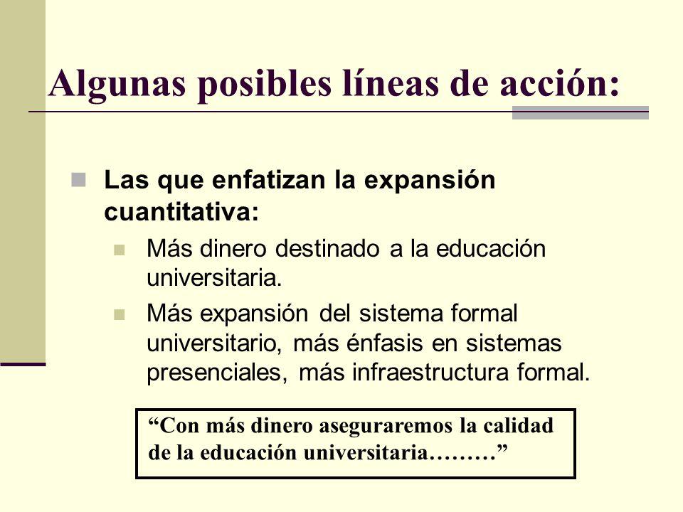Algunas posibles líneas de acción: Las que enfatizan la expansión cuantitativa: Más dinero destinado a la educación universitaria. Más expansión del s