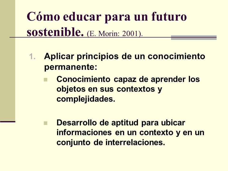 Cómo educar para un futuro sostenible. (E. Morin: 2001). 1. Aplicar principios de un conocimiento permanente: Conocimiento capaz de aprender los objet