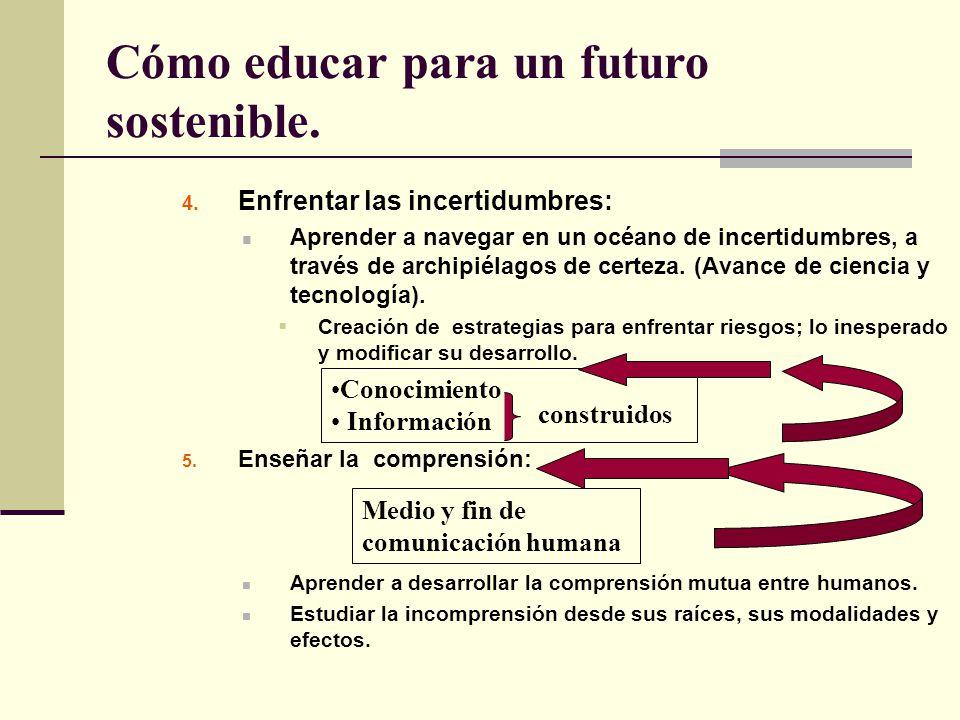Cómo educar para un futuro sostenible. 4. Enfrentar las incertidumbres: Aprender a navegar en un océano de incertidumbres, a través de archipiélagos d