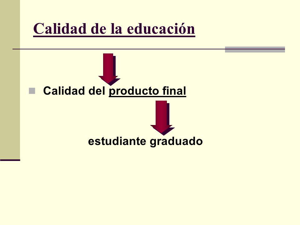 Calidad de la educación Calidad del producto final estudiante graduado