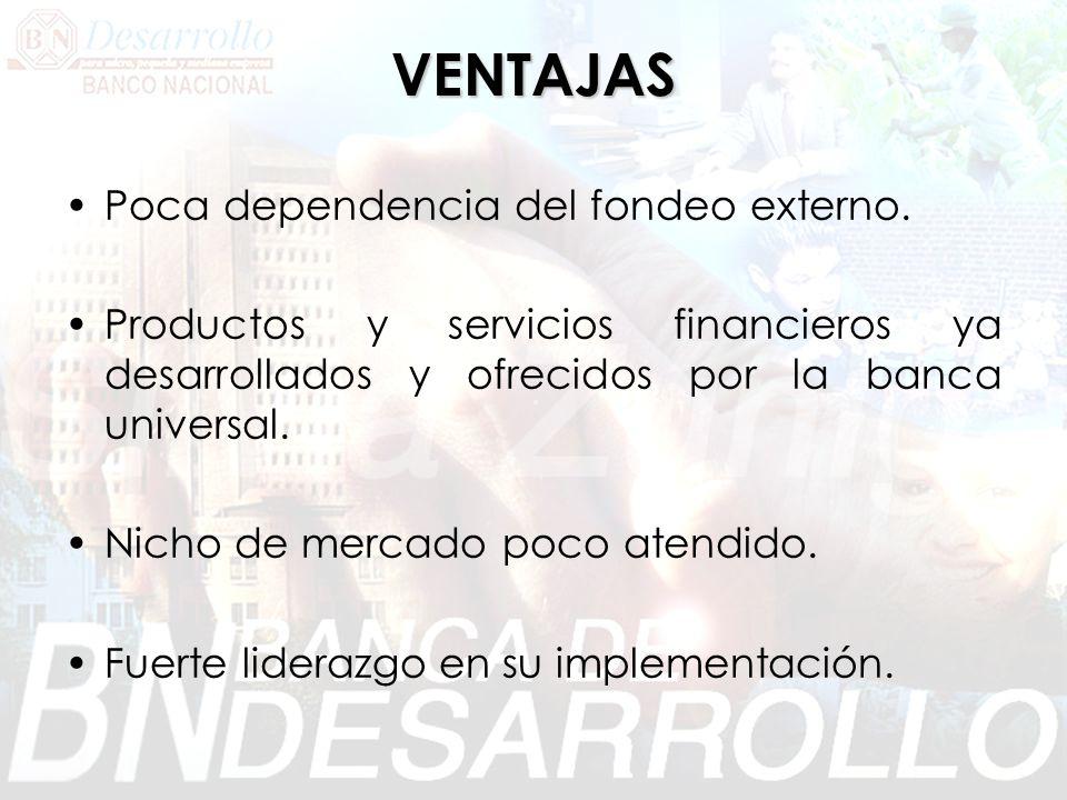 VENTAJAS Poca dependencia del fondeo externo. Productos y servicios financieros ya desarrollados y ofrecidos por la banca universal. Nicho de mercado