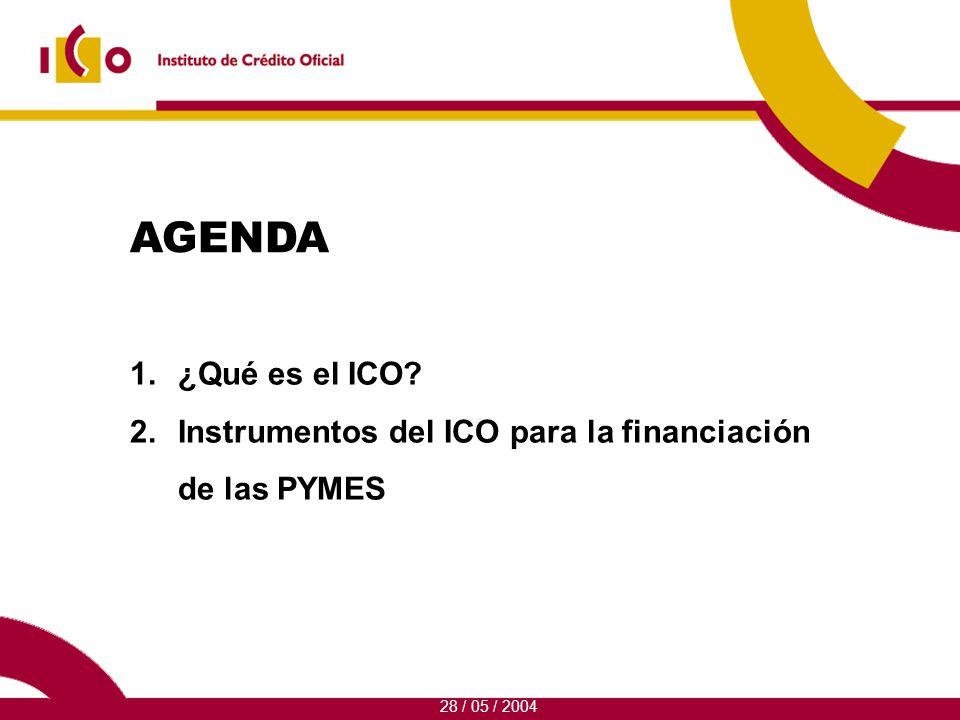 1.¿Qué es el ICO 2.Instrumentos del ICO para la financiación de las PYMES 28 / 05 / 2004 AGENDA