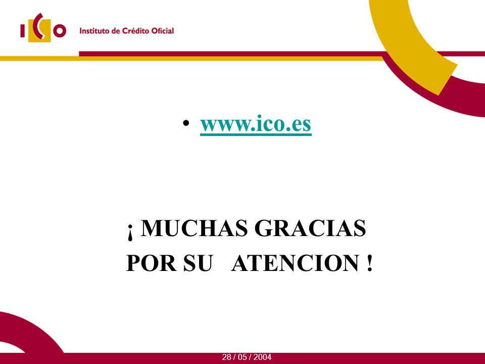 www.ico.es ¡ MUCHAS GRACIAS POR SU ATENCION ! 28 / 05 / 2004