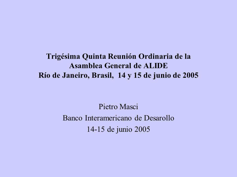 Trigésima Quinta Reunión Ordinaria de la Asamblea General de ALIDE Río de Janeiro, Brasil, 14 y 15 de junio de 2005 Pietro Masci Banco Interamericano